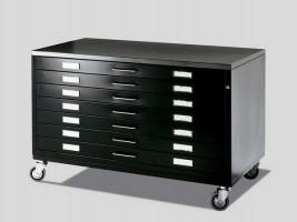 Black Metal Drawer on Castors - Draftech DIN A1 - 7 Drawers