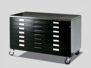 Black Metal Drawer on Castors - Draftech DIN A1 - 7 Drawers