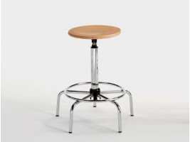 Steel Drafting Stool with Beechwood Seat