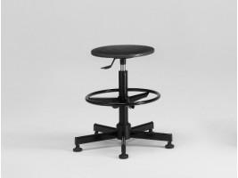 Designer Stool with Flan Black and Adjustable Footrest