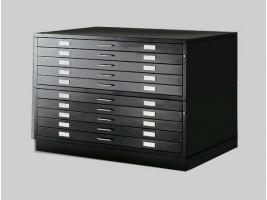 Draftech - Cassettiera A0 con 10 Cassetti Nera
