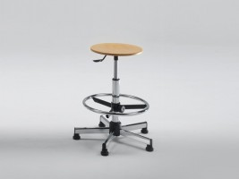 Beech Stool for Designer with Adjustable Footrest