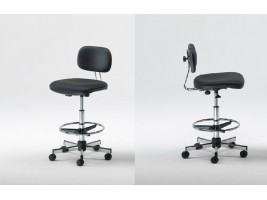 Stool - Padded back and seat - Black color - Out od Production