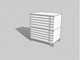 Draftech Basic - Chest of drawers A0 -10 Drawers - White - Wheels